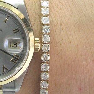 Jewelry - Fine Round Cut Diamond Tennis Bracelet Yellow Gold
